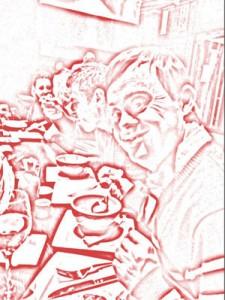 Francisco Javier Lafuente es una persona con síndrome de Down de España. Él es entusiasta y está disfrutando de una sopa en un restaurante japonés en Marruecos. Foto: Antonio Lafuente