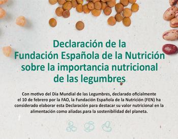 Declaración de la Fundación Española de la Nutrición sobre la importancia nutricional de las legumbres