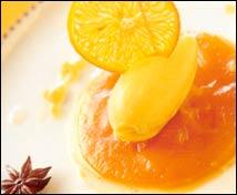 Compota de calabaza con sorbete de mandarina al Vichy Catalán y jalea de anís estrelado y pimienta rosa