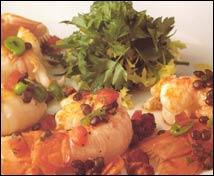Ensalada de cigalas con vinagreta de lentejas