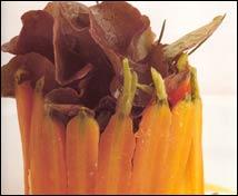 Timbal de zanahorias al comino con lengua de ternera y ensalada