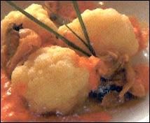 Coliflor con almejas y algas