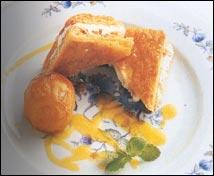 Crema de chiboust de requesón y miel con melocotón asado