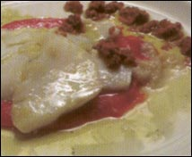 Láminas de bacalao con caviar de oricios, aceite de oliva y vinagre balsámico