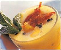 Sorbete de fruta de la pasión y cítricos caramelizados