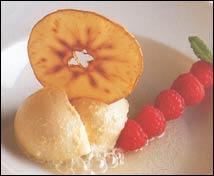 Sorbete de manzana al aroma de sidra dulce con su crujiente